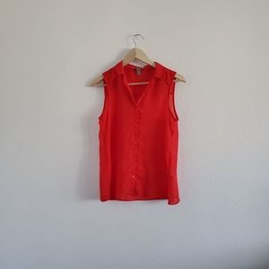 F21 Red Sleeveless Collared Sheer Blouse